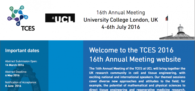 4-6 July 2016 – Tissue & cell engineering society annual meeting, London