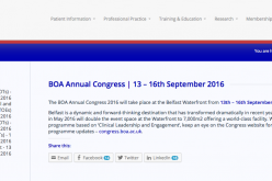 13-16 September 2016 – BOA annual congress, Belfast