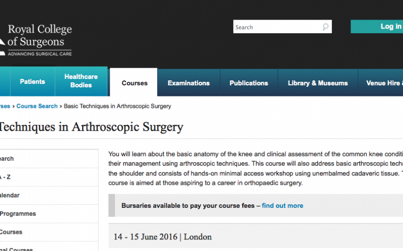 14-15 June 2016 – Basic techniques in arthroscopic surgery, London