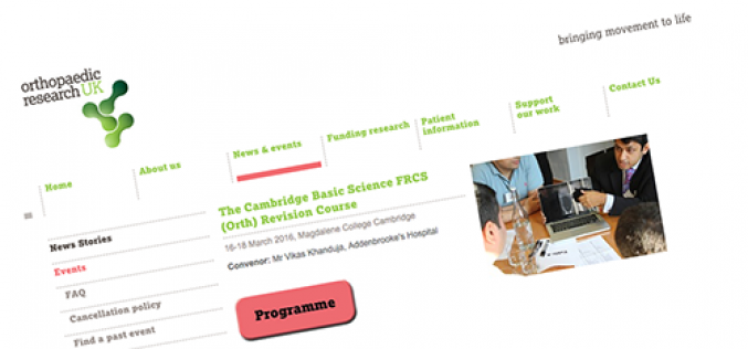 16-18 March 2016 – The Cambridge basic science FRCS (orth) revision course