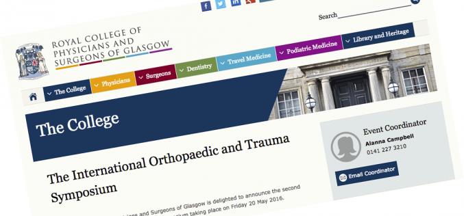 20 May 2016 – The international orthopaedic and trauma symposium, Glasgow