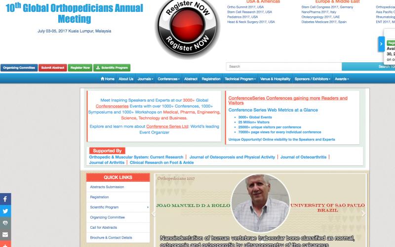 3–5 July 2017 – 10th Global Orthopaedicians Annual Meeting; Kuala Lumpur