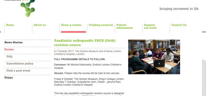 6–7 October 2017 – Paediatric orthopaedic FRCS (Orth) revision course; London