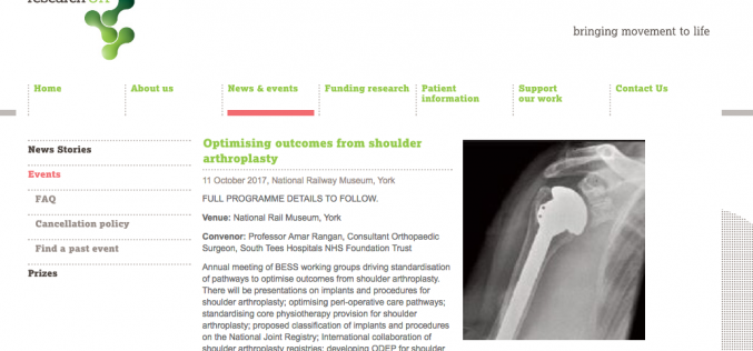 11 October 2017 – Optimising outcomes from shoulder arthroplasty; York