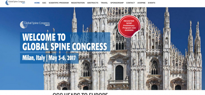 3–6 May 2017 – Global Spine Congress 2017; Milan