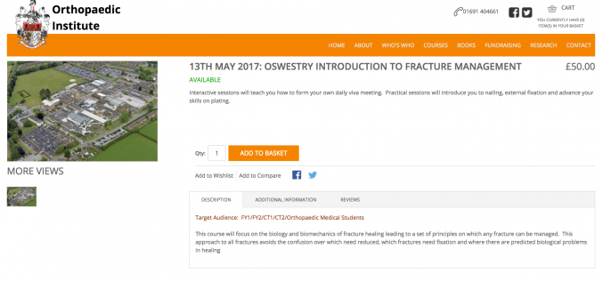 13 May 2017, Fracture management course for FY1/FY2/ CT1/CT2/ orthopaedic and medical students; Oswestry