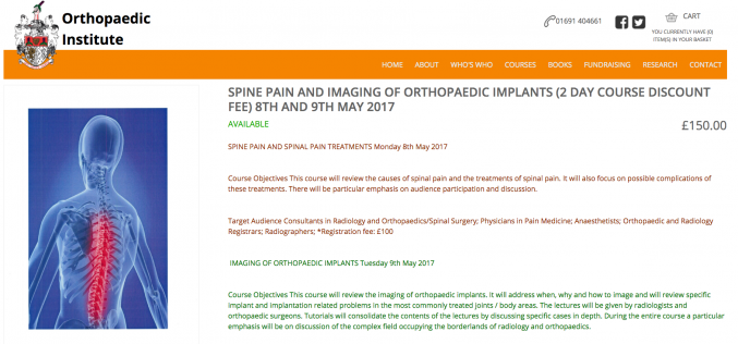 9 May 2017, Imaging of Orthopaedic Implants; Oswestry