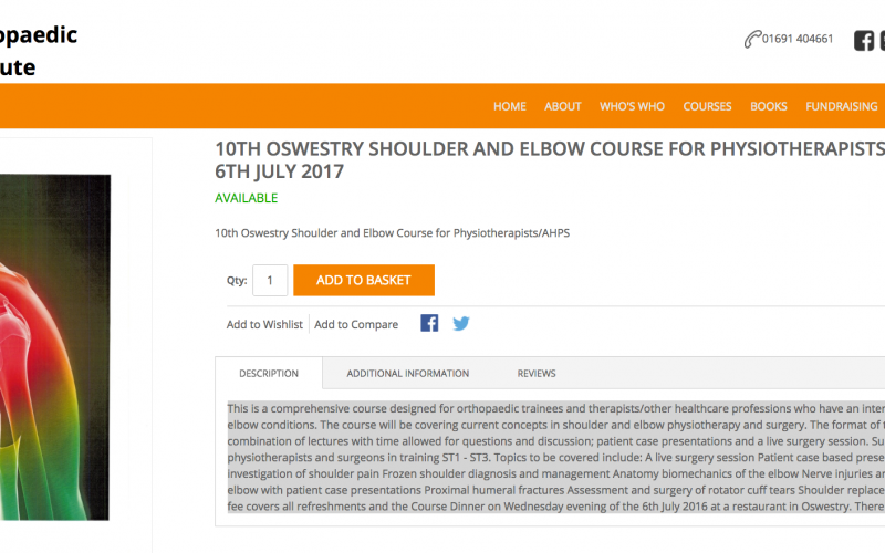 5-6 July 2017, Shoulder and Elbow Course; Oswestry