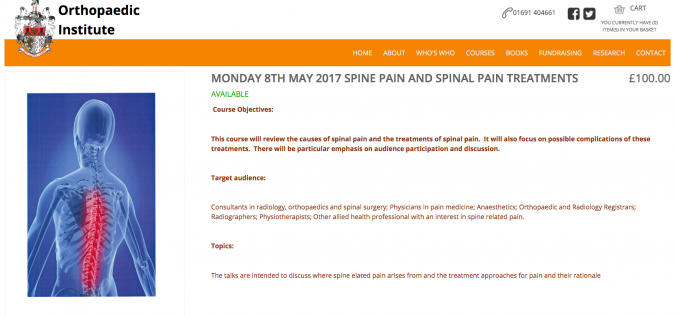 8 May 2017, Spine Pain Treatments Course; Oswestry