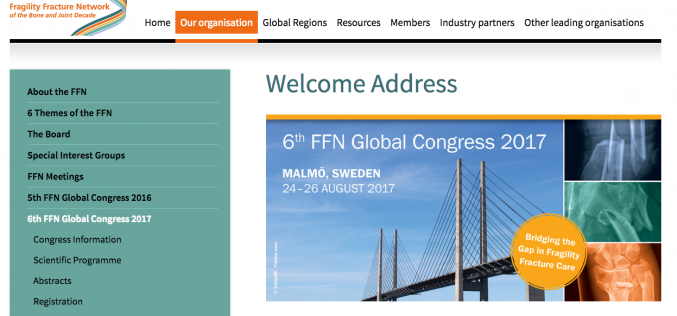 24–26 August 2017 – 6th Fragility Fracture Network Global Congress; Malmo, Sweden