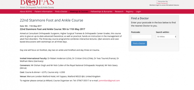 9–11 May 2017; 22nd Stanmore Foot and Ankle Course; Watford, UK