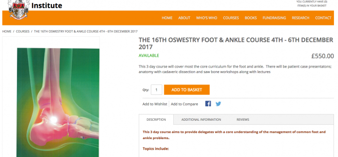 4–6 December 2017 – The 16th Oswestry Foot & Ankle Course