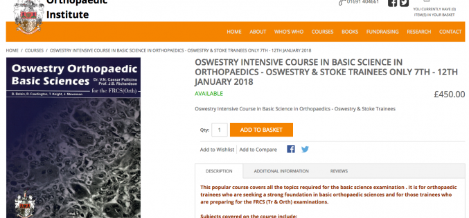 7–12 January 2018 – Oswestry Intensive Course in Basic Science in Orthopaedics; Oswestry