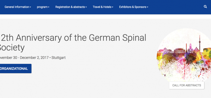 30 November – 2 December 2017 – 12th Anniversary of the German Spinal Society; Stuttgart, Germany