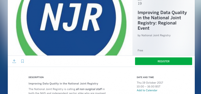 19 October 2017, Improving Data Quality in the National Joint Registry; London