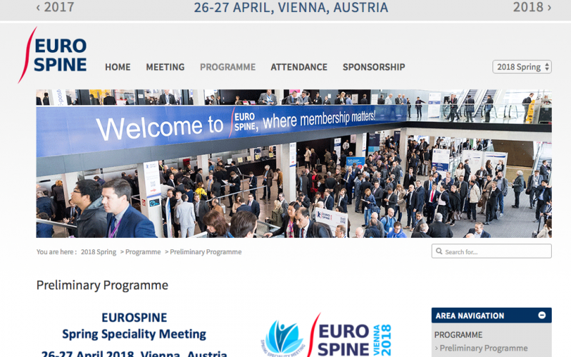 26-27 April 2018 – EUROSPINE Spring Specialty Meeting 2018; Austria