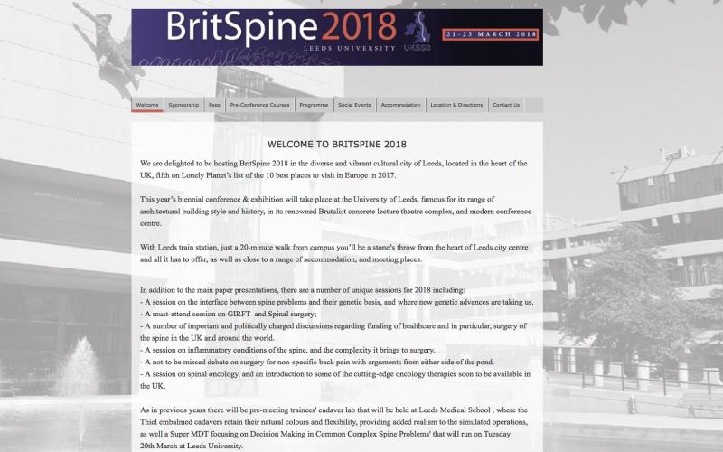 21-23 March 2018, BritSpine 2018; Leeds, UK
