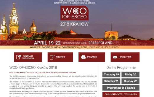 19-22 April 2018, The World Congress on Osteoporosis, Osteoarthritis and Musculoskeletal Diseases; Krakow, Poland