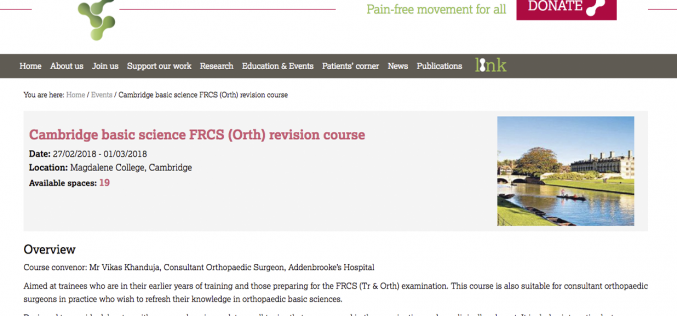 27 February–1 March 2018; Cambridge Basic Science FRCS (Ortho) revision course, Cambridge
