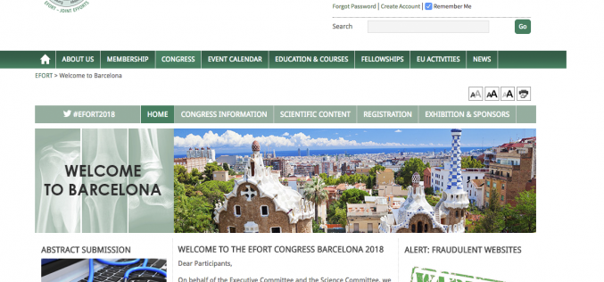 30 May – 1 June 2018; 19th EFORT Annual Congress, Spain