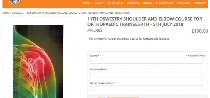 4–5 July 2018, Shoulder and elbow course; Oswestry