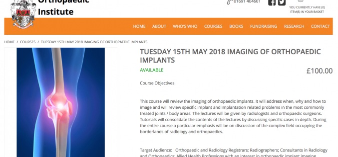 15 May 2018, Imaging of orthopaedic implants; Oswestry