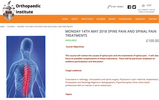 14 May 2018, Spine pain treatments course; Oswestry