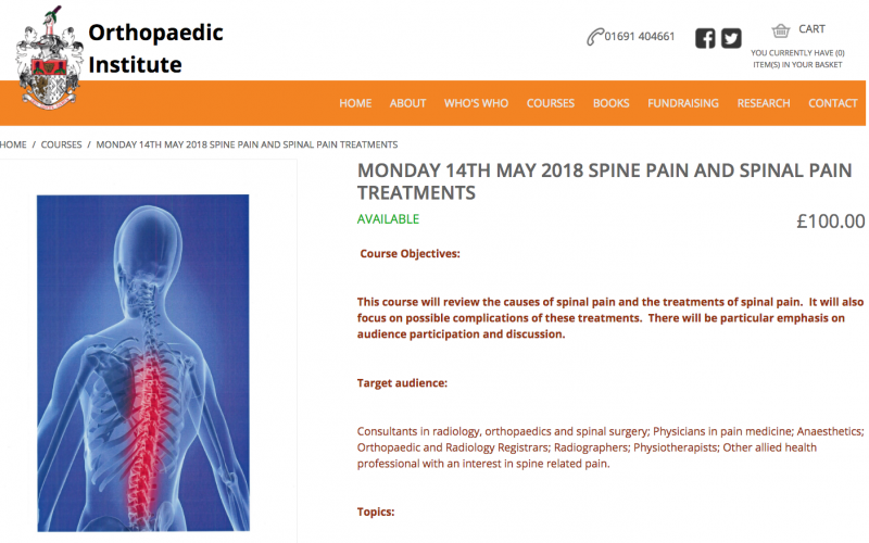 14 May 2018 Spine Pain Treatments Course Oswestry Orthopaedic