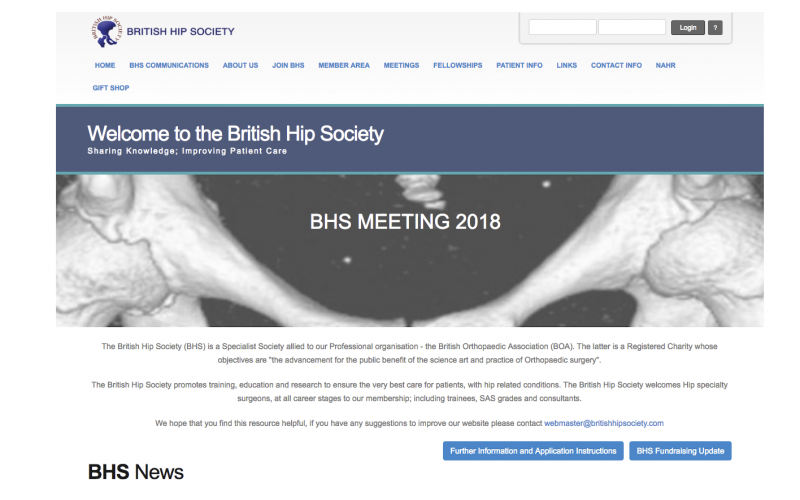 14–16 March 2018; British Hip Society Annual Meeting 2018, Derby, UK