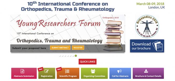8–9 March 2018; 10th International Conference on Orthopaedics, Trauma and Rheumatology, London