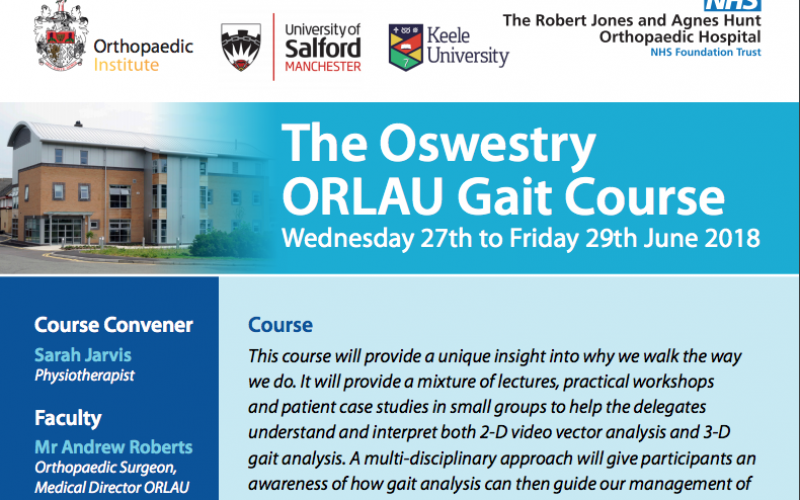 27-29 June 2018, The Oswestry ORLAU Gait Course; Oswestry