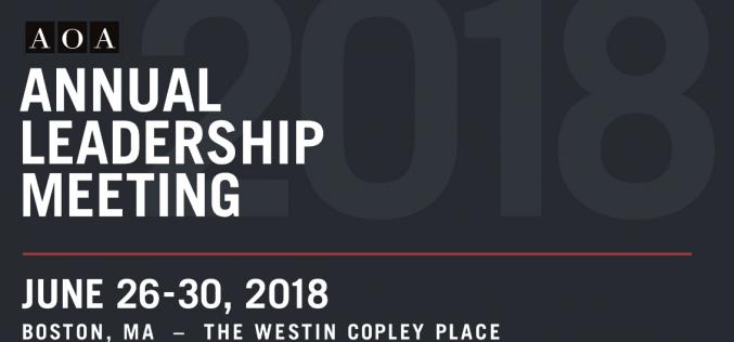 26-30 June 2018, American Orthopaedic Association Annual Leadership Meeting 2018; Boston, USA
