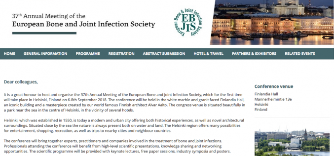 6-8 September 2018, 37th Annual Meeting of the European Bone and Joint Infection Society; Helsinki, Finland