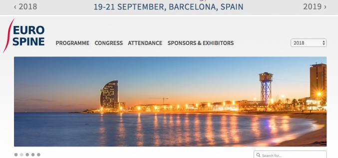 19-21 September 2018, EUROSPINE 2018; Barcelona