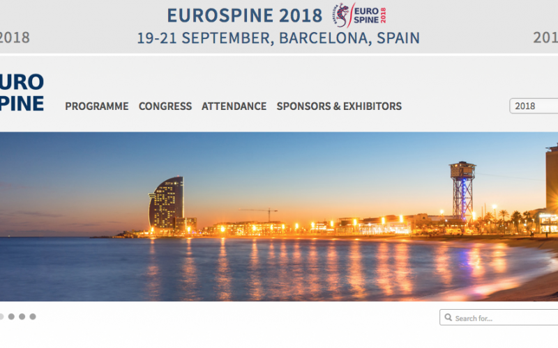 19-21 September 2018, EUROSPINE 2018; Barcelona