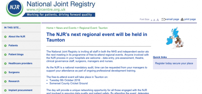9 October 2018, National Joint Registry Regional Event; Taunton