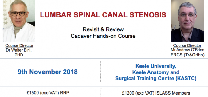 9 November 2018, Lumbar Spinal Canal Stenosis; Keele University