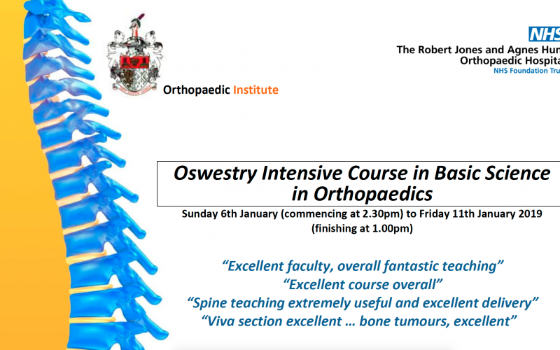 6-11 January 2019, Basic Science Course; Oswestry