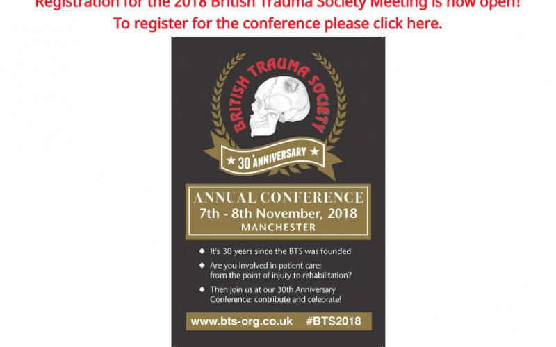 7-8 November 2018, British trauma society annual scientific meeting 2018; Manchester