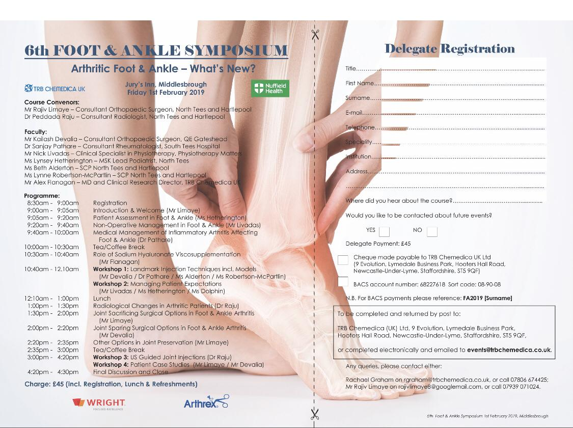 1 February 2019, 6th Foot & Ankle Symposium; Middlesborough