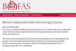14-15 March 2019, Munich Advanced Ankle Arthroscopy Course; Munich