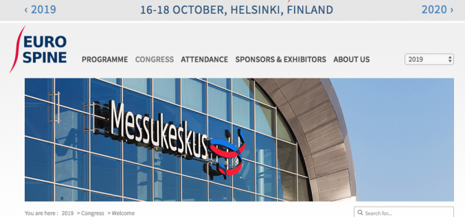16-18 October 2019, EUROSPINE 2019; Helsinki