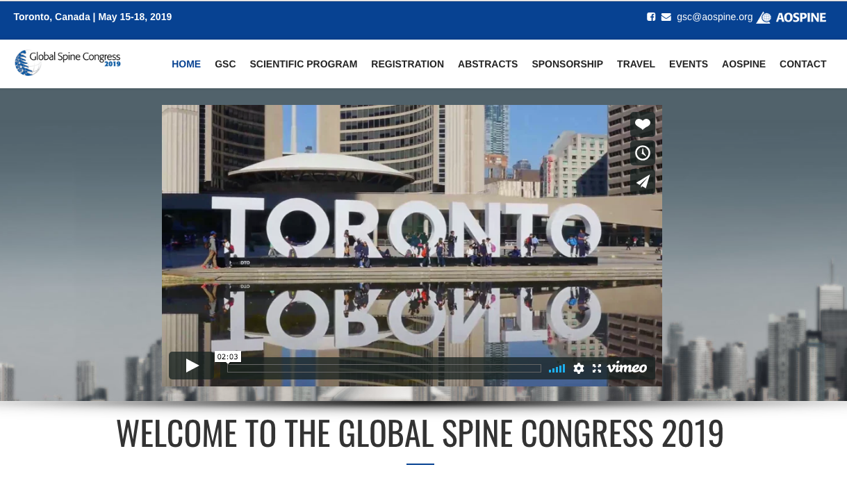 15-18 May 2019, Global Spine Congress 2019; Canada