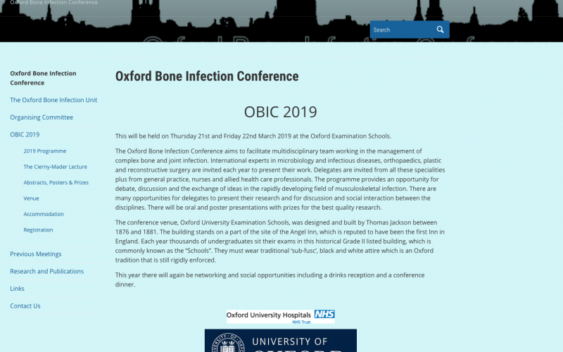 21-22 March 2019, 8th Annual Oxford Bone Infection Conference; Oxford