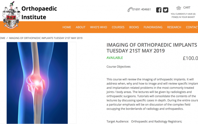 21 May 2019, Imaging of orthopaedic implants; Oswestry