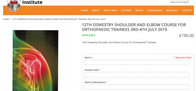 3-4 July 2019, 12th Oswestry shoulder & elbow course; Oswestry