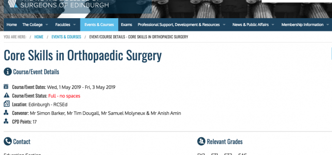 1-3 May 2019, Core skills in orthopaedic surgery; Edinburgh