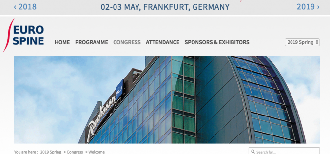 2-3 May 2019, EUROSPINE Spring Meeting; Frankfurt