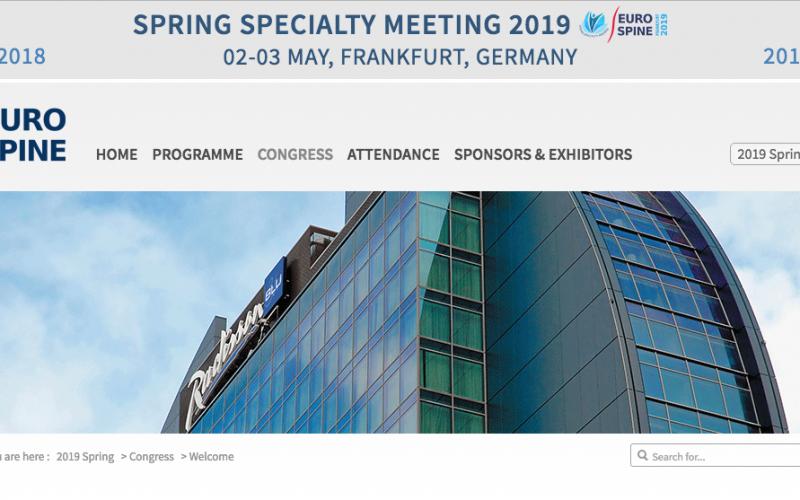 2-3 May 2019, EUROSPINE Spring Meeting; Frankfurt