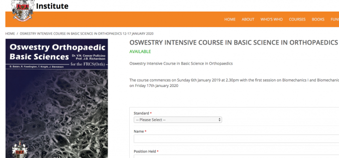 12-17 January 2020, Oswestry Intensive Course in Basic Science in Orthopaedics 2020; Oswestry